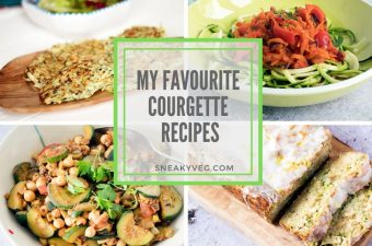 photos of different courgette recipes including fritters, zoodles, courgette curry and courgette cake