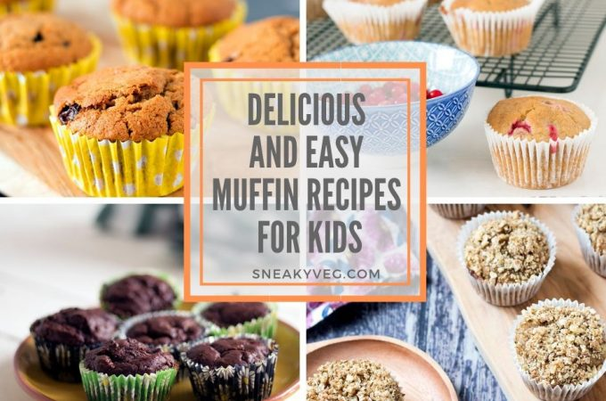 four different photos of healthy muffin recipes for kids