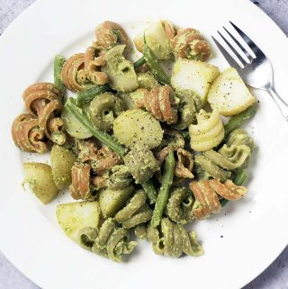 broccoli pesto with green beans and new potatoes (vegan)