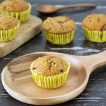 muffins on wooden plate and board