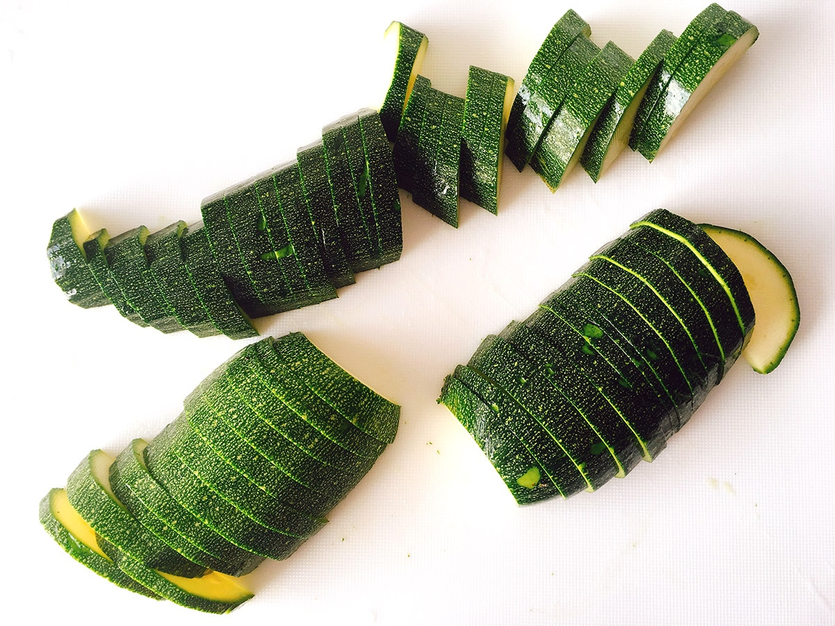 courgettes cut into half moons