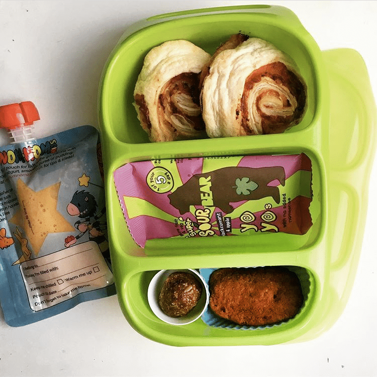 Healthy green lunchbox with Nom Nom Kids pouch and smoothie