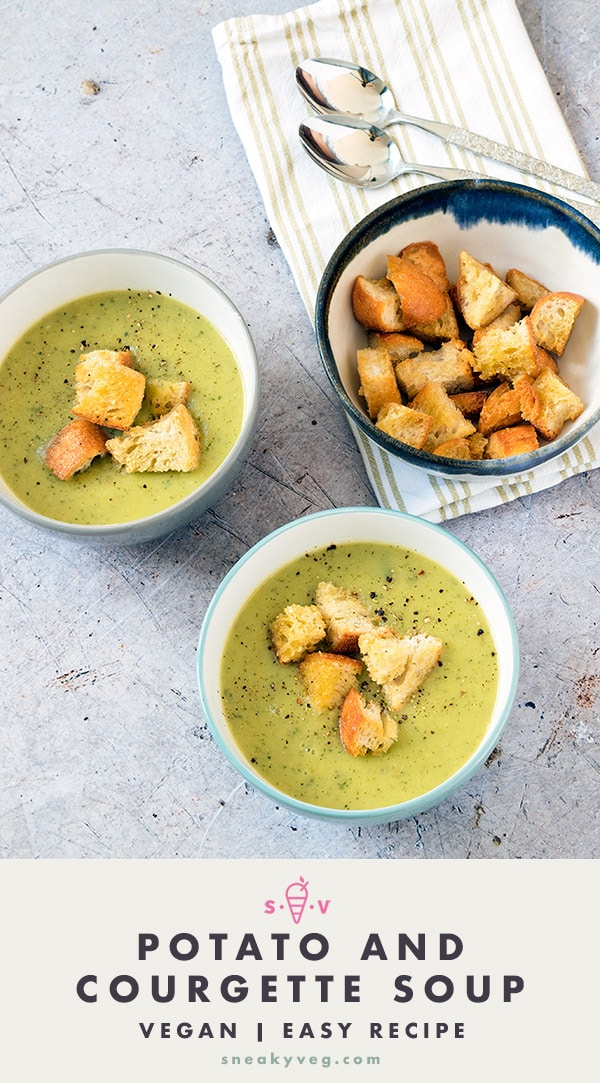 courgette and potato soup in bowls with croutons