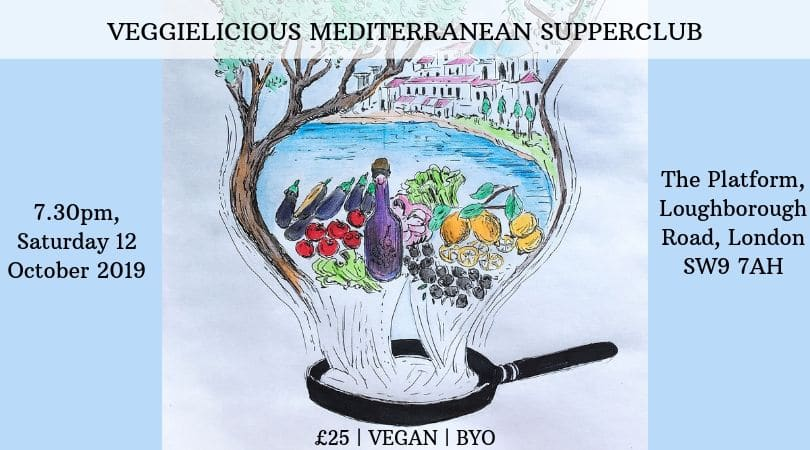 illustration for mediterranean vegan supperclub london 12 October 2019