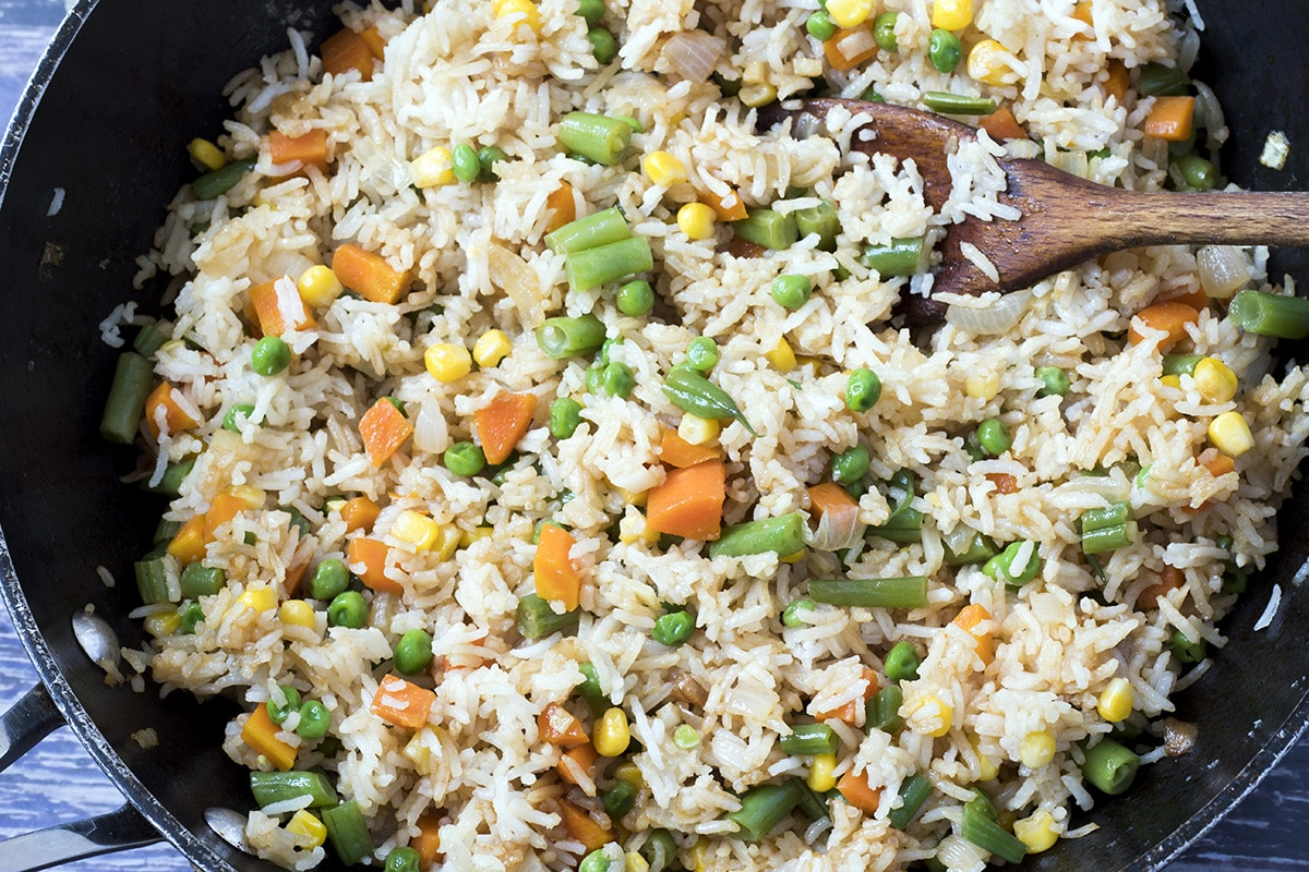 close up of veggie fried rice in wok