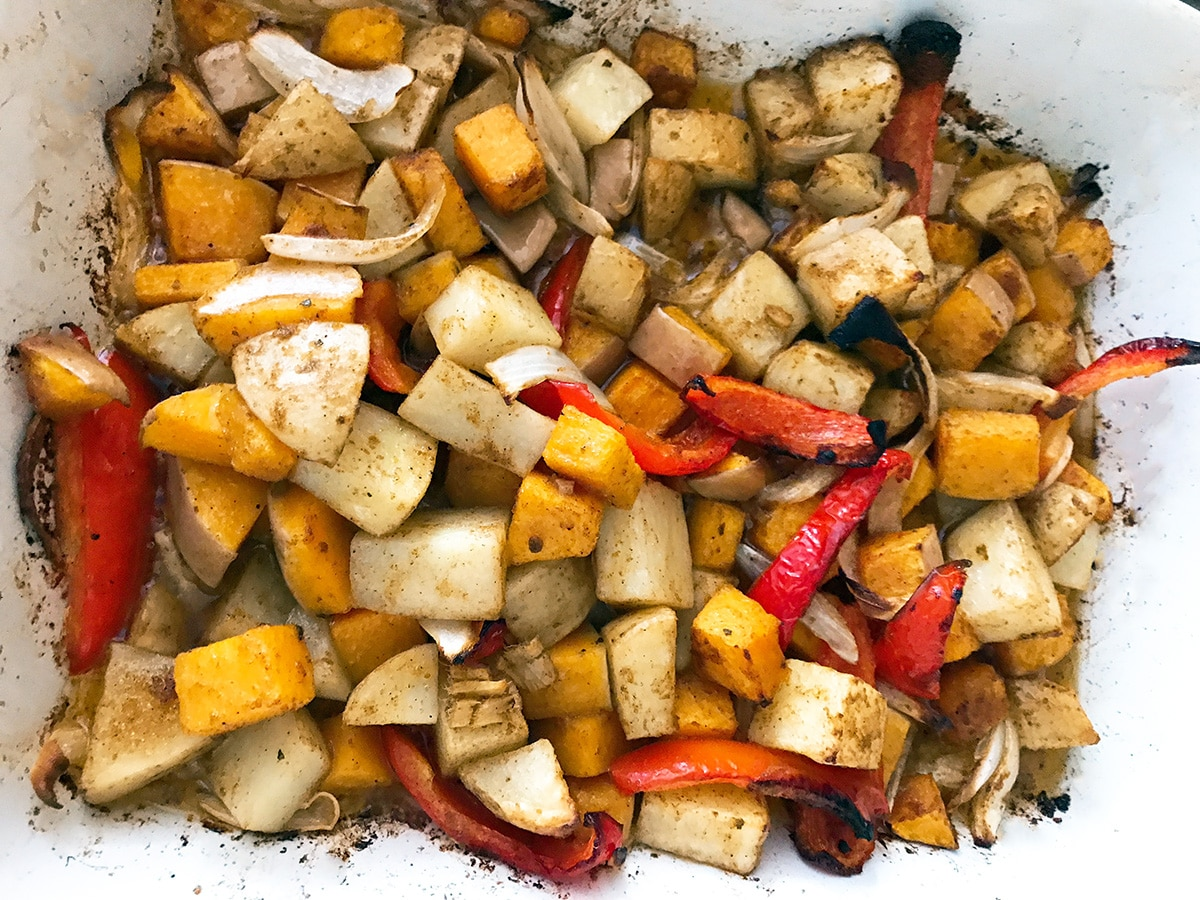 roasted potato, squash, red pepper