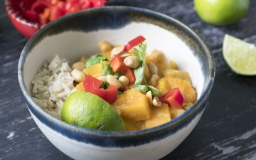 Thai yellow butternut squash curry in bowl