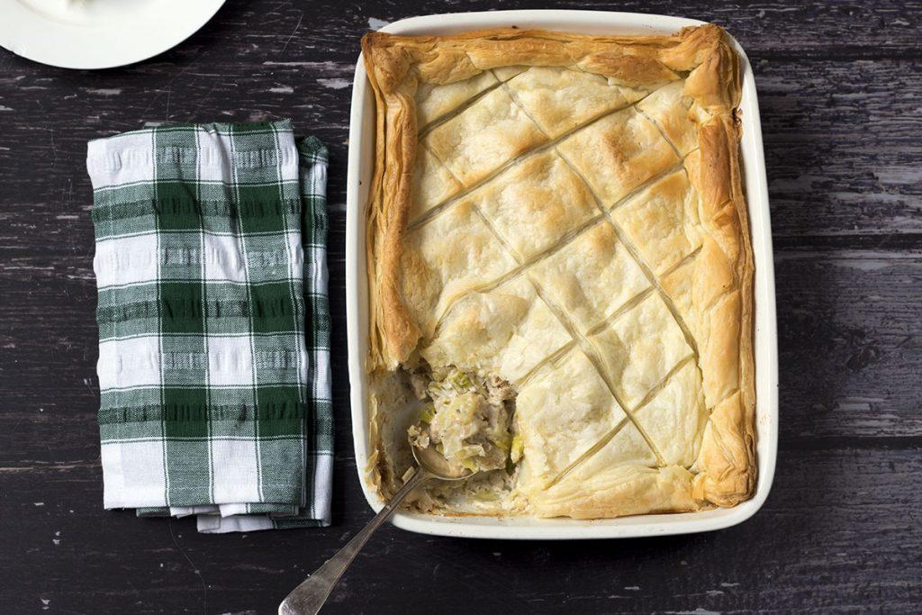 vegan chicken and leek pie in roasting dish