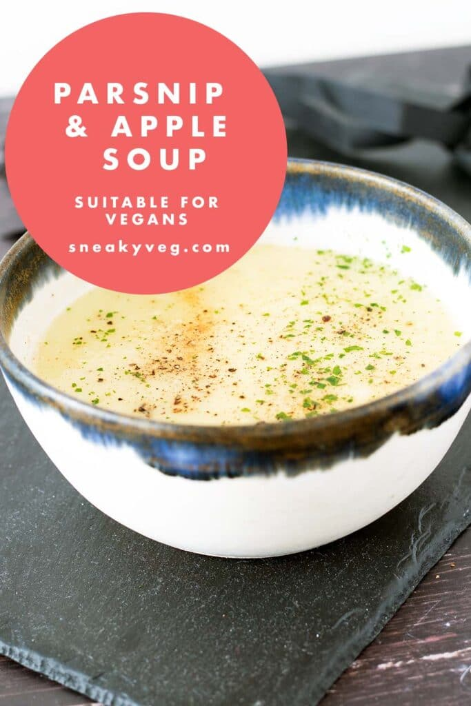 parsnip and apple soup in blue and white bowl