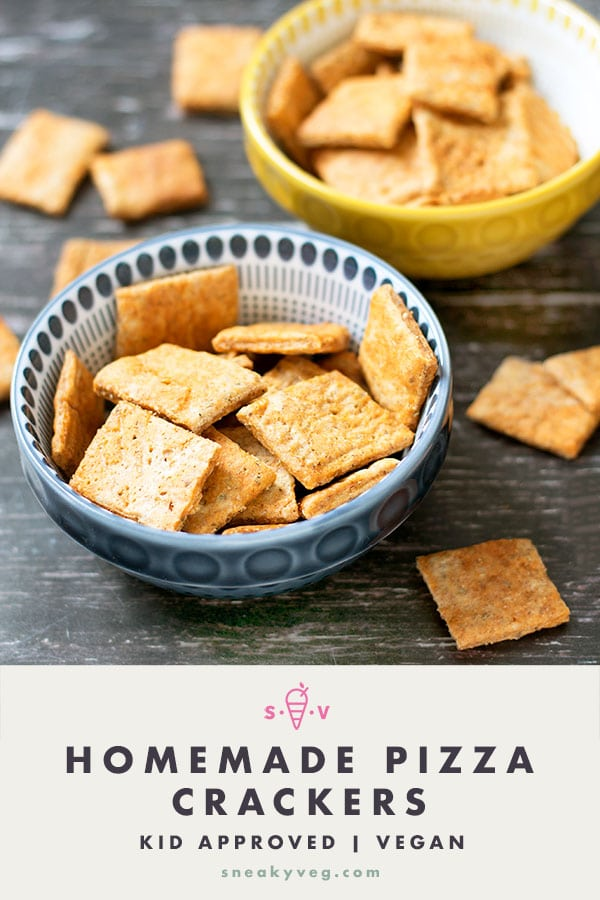 two bowls of homemade pizza crackers