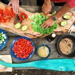 People preparing vegetables
