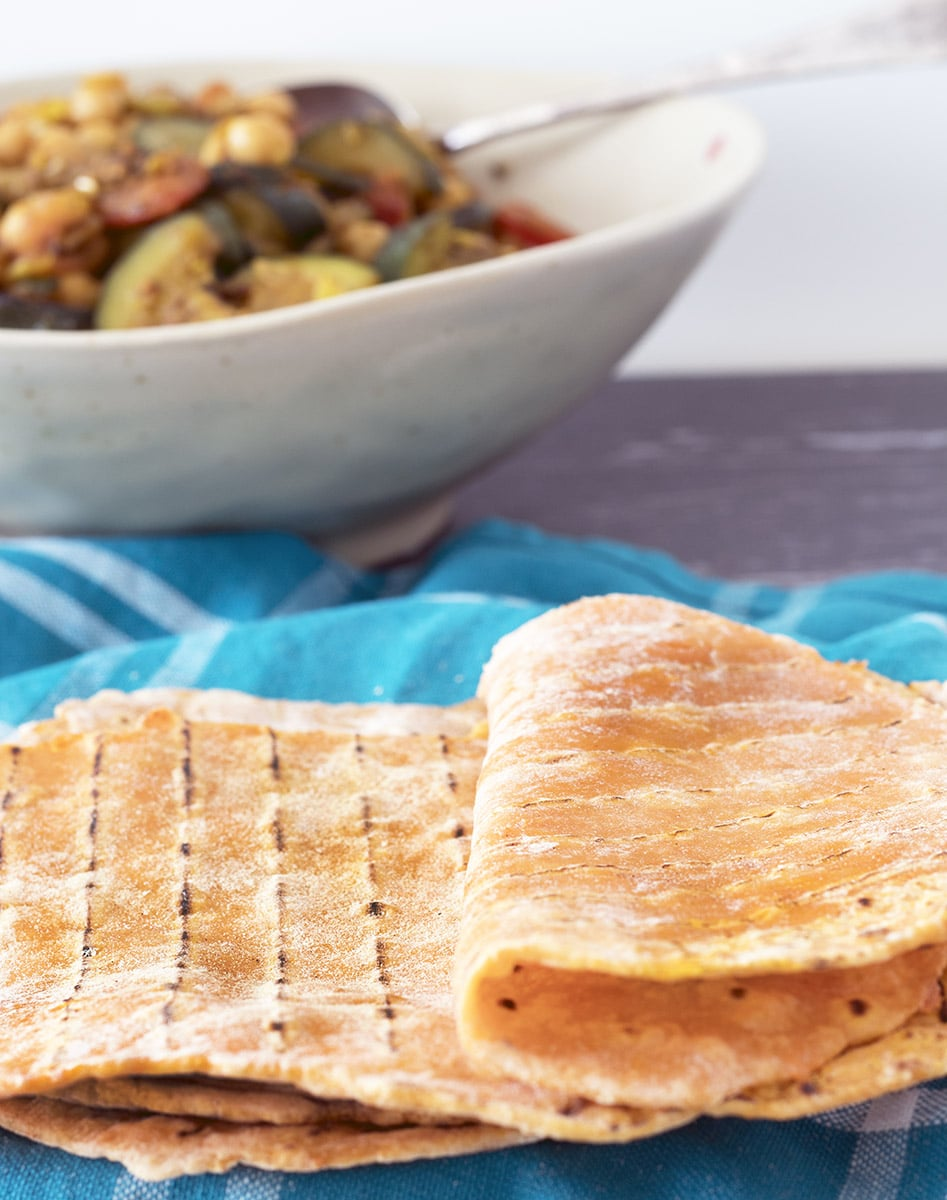 sweet potato flatbreads with curry in background