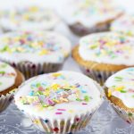 vegan vanilla cupcakes with sprinkles