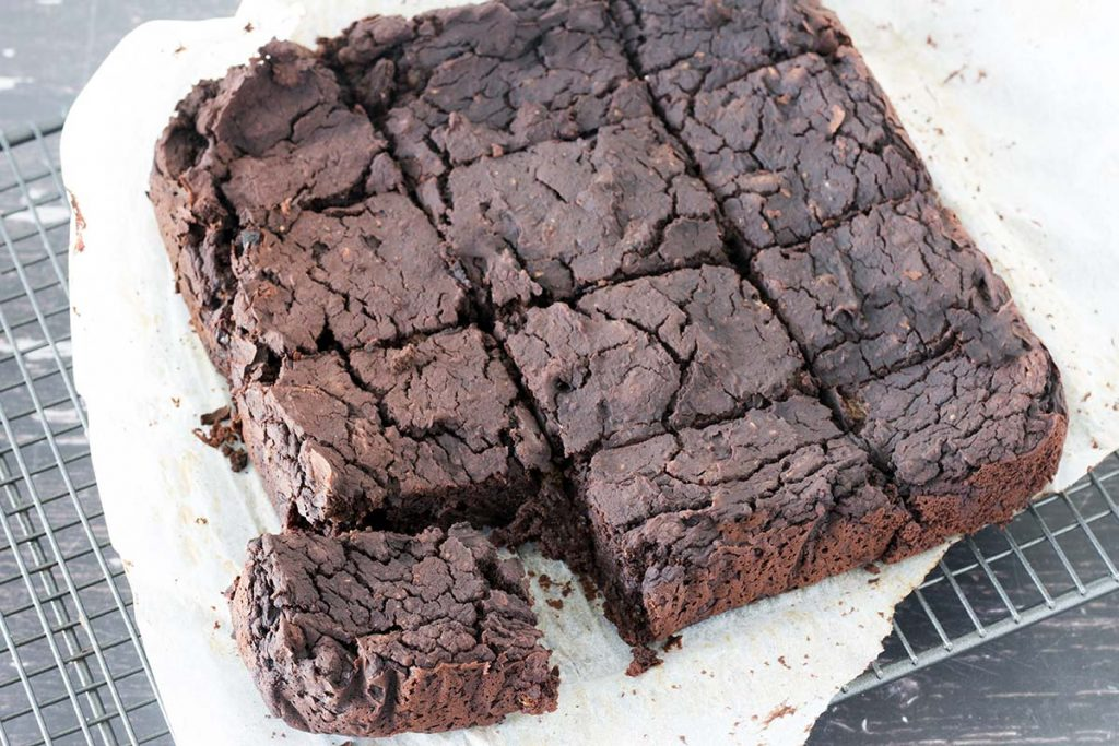 vegan black bean brownies on cooling rack
