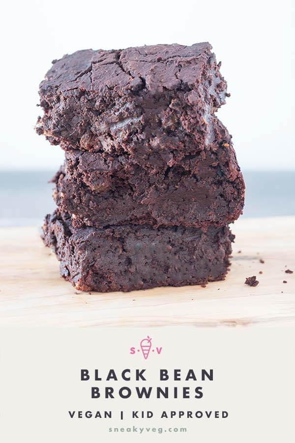 stack of black bean brownies on board
