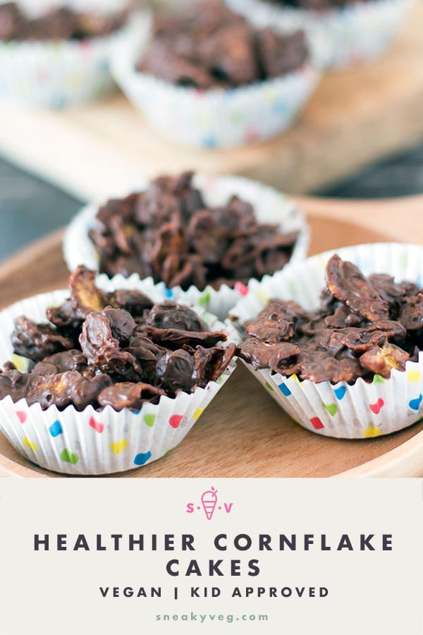 chocolate cornflake cakes on wooden board
