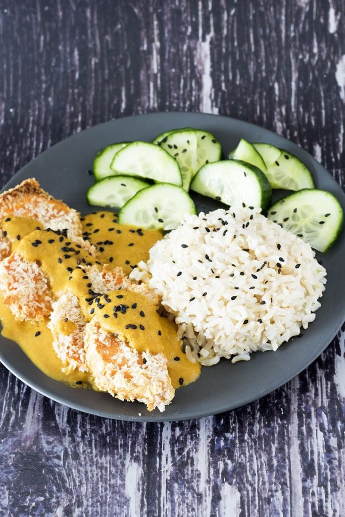 sweet potato katsu curry with rice and pickled cucumber