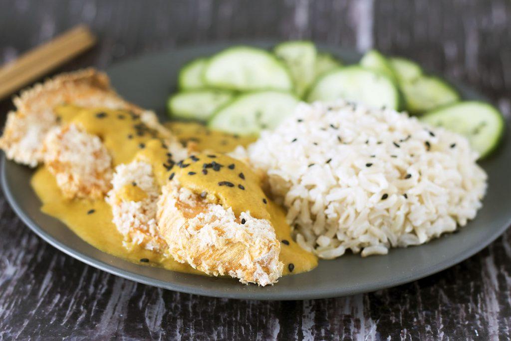 vegan katsu curry with rice and cucumber