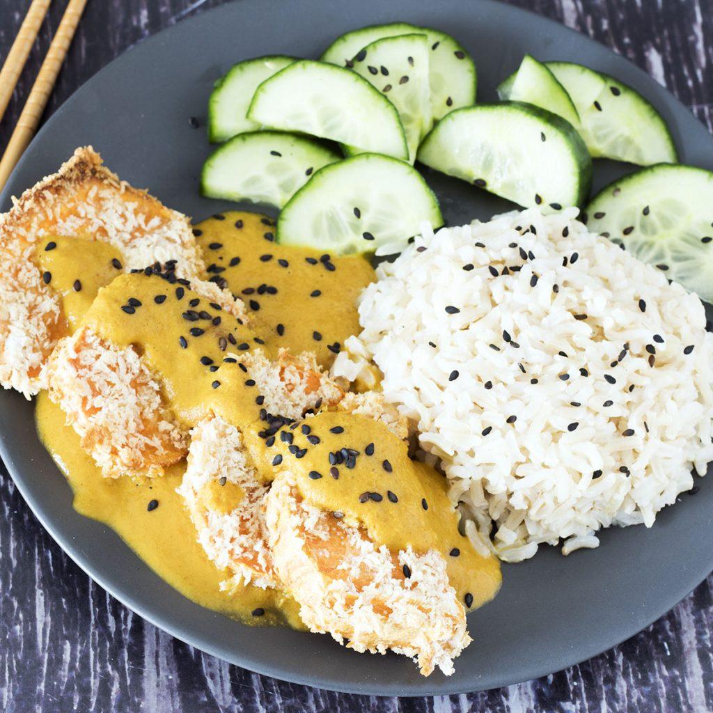 overhead shot of sweet potato katsu curry and chopsticks