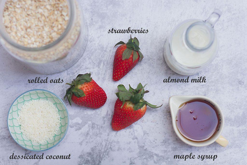 ingredients for strawberry porridge