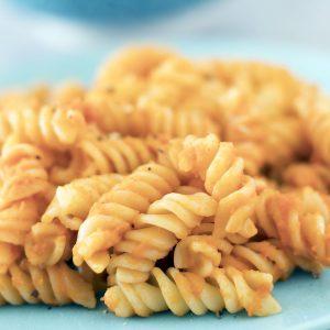 roasted carrot sauce on pasta