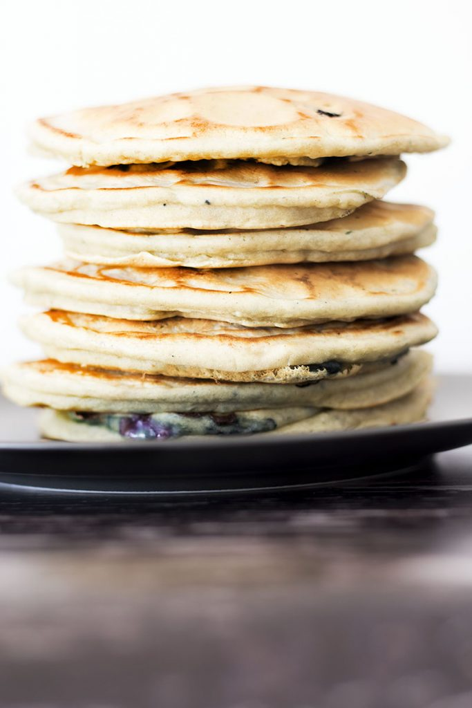 stack of vegan eggless pancakes