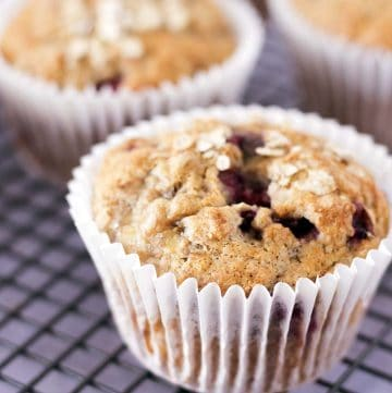 RASPBERRY BREAKFAST MUFFINS ON COOLING RACK