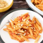 creamy tomato sauce with pasta and pine nuts on white plate