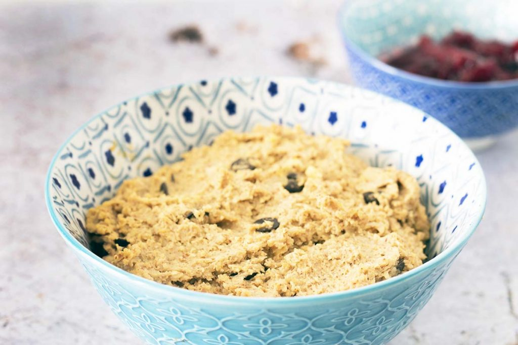 chickpea cookie dough in blue and white owl