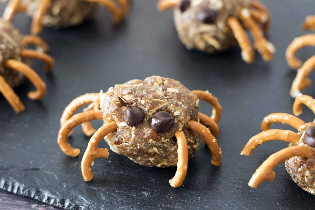 Spider energy balls on black slate