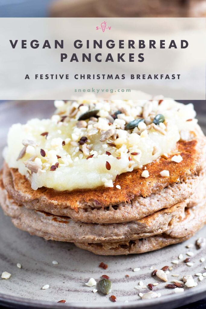 stack of spiced gingerbread pancakes on ceramic plate topped with apple compote