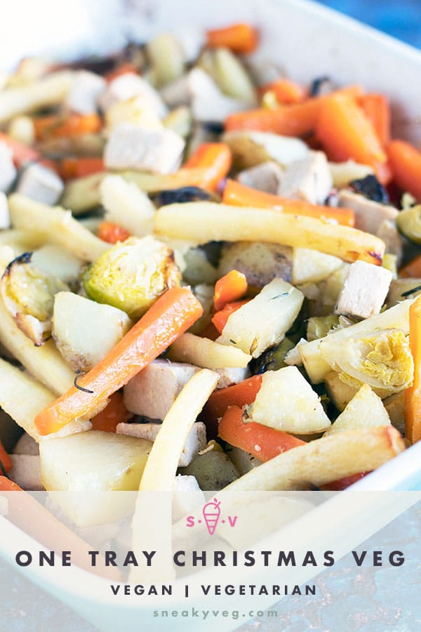 tray of roasted christmas dinner vegetables