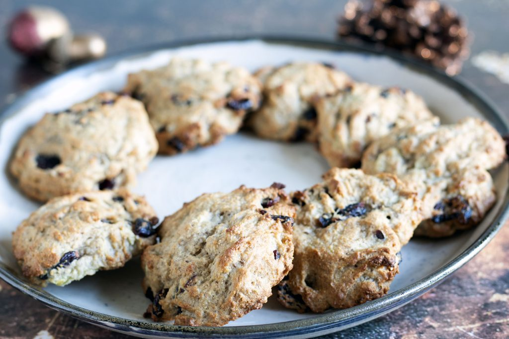 healthy christmas cookies on white plate