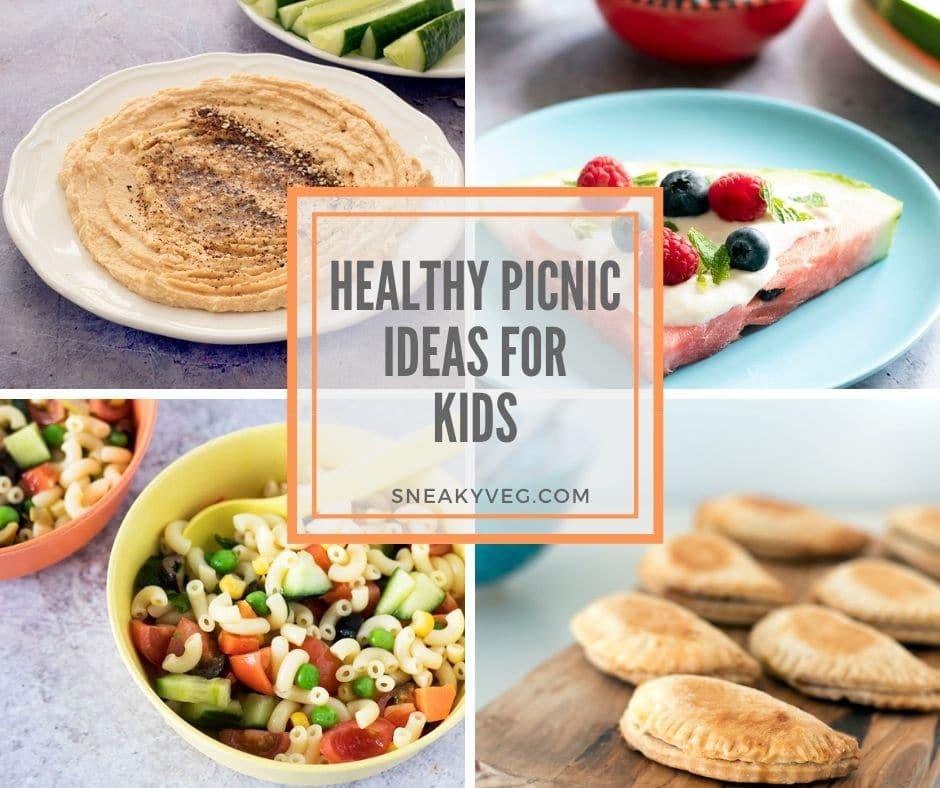 four shots of healthy picnic ideas for kids - hummus, watermelon, pasta salad and empanadas