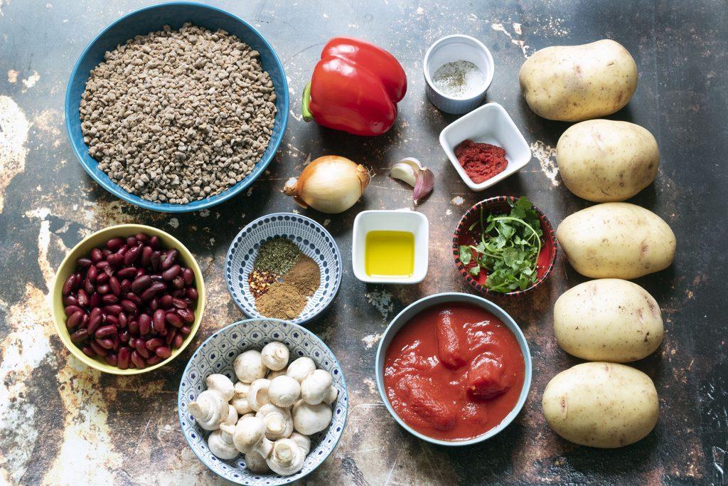 ingredients needed for jacket potatoes with vegan mushroom chilli