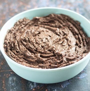 healthy chocolate spread in blue bowl