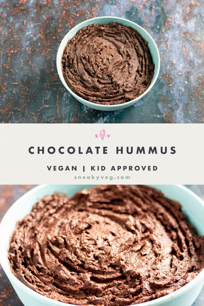 chocolate hummus in blue bowl