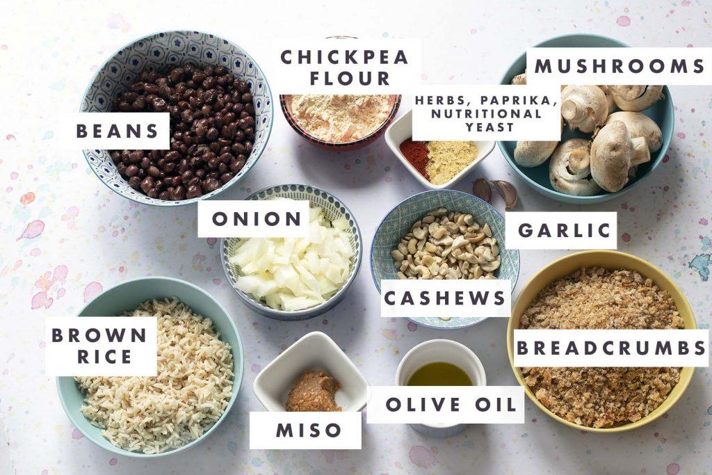 ingredients for mushroom burgers