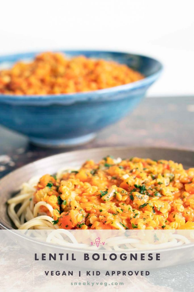 spaghetti with lentil bolognese on plate with bowl of bolognese in background