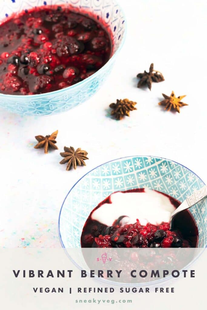 two bowls of berry compote and yoghurt with star anise
