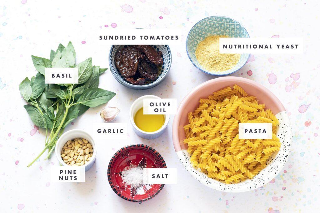 ingredients for sundried tomato pasta pesto