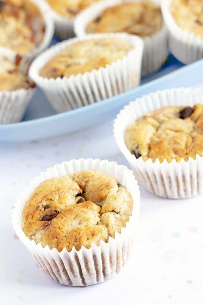 chocolate banana muffins on blue plate