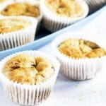 healthier chocolate banana muffins in white cases