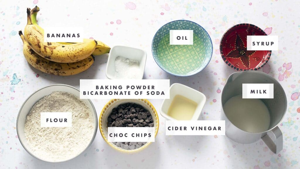ingredients for banana choc chip muffins