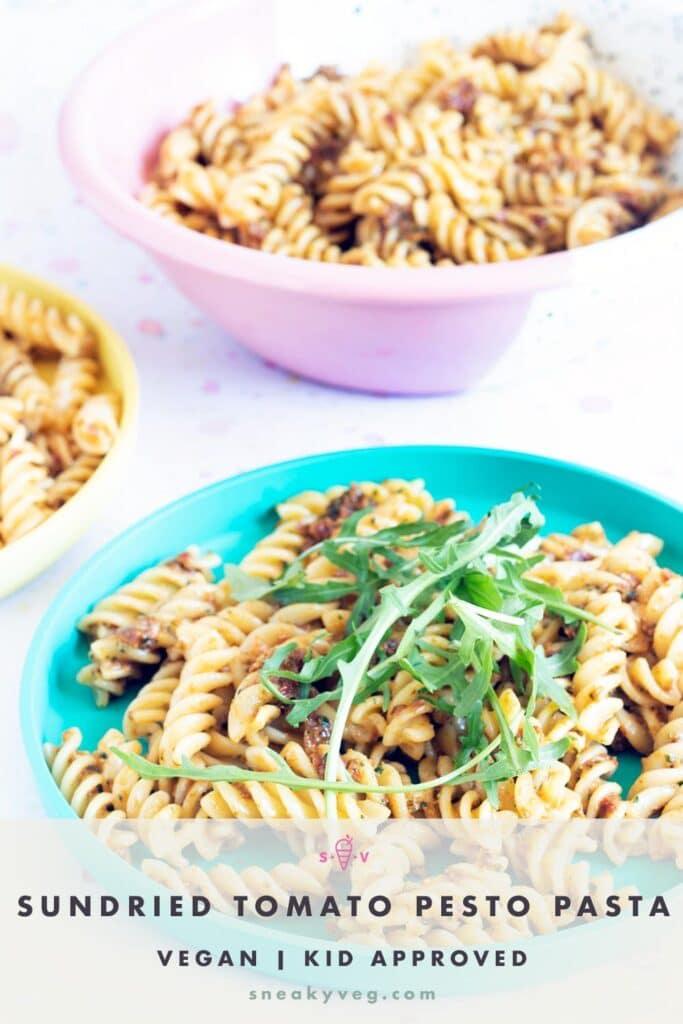 sundried tomato pasta pesto on colourful plates