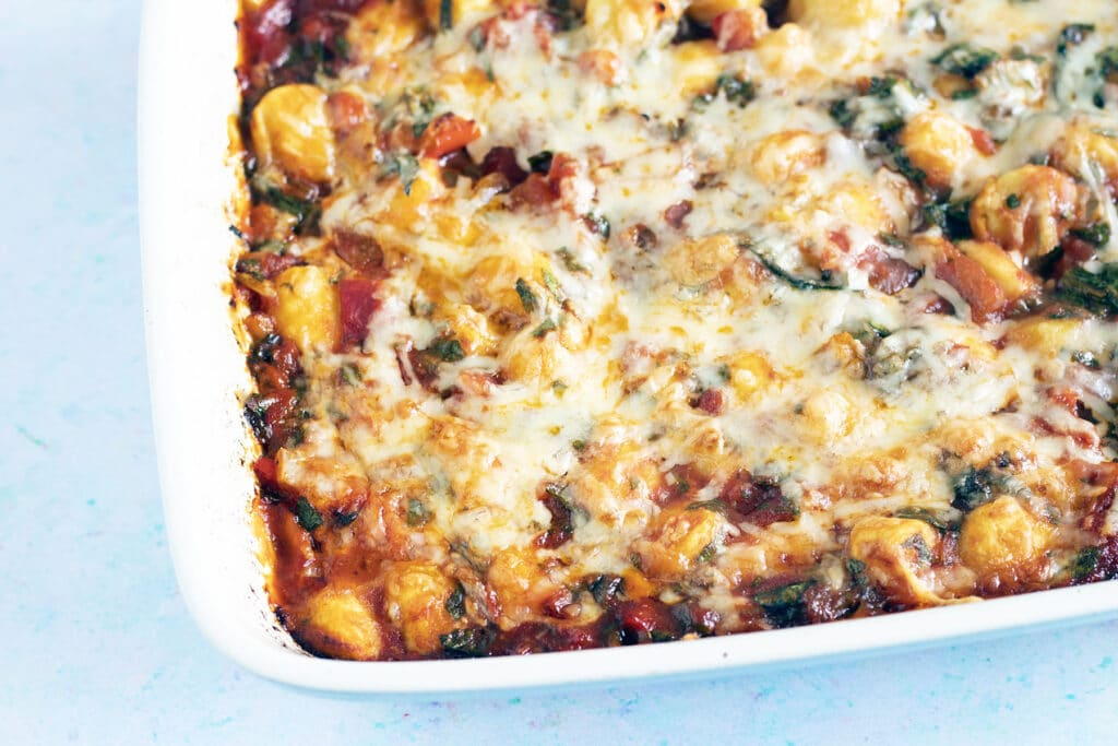 cheesy baked gnocchi in oven tray