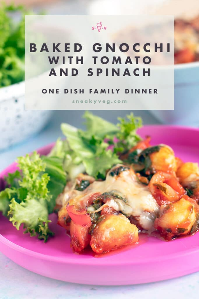 baked gnocchi and salad on pink plate
