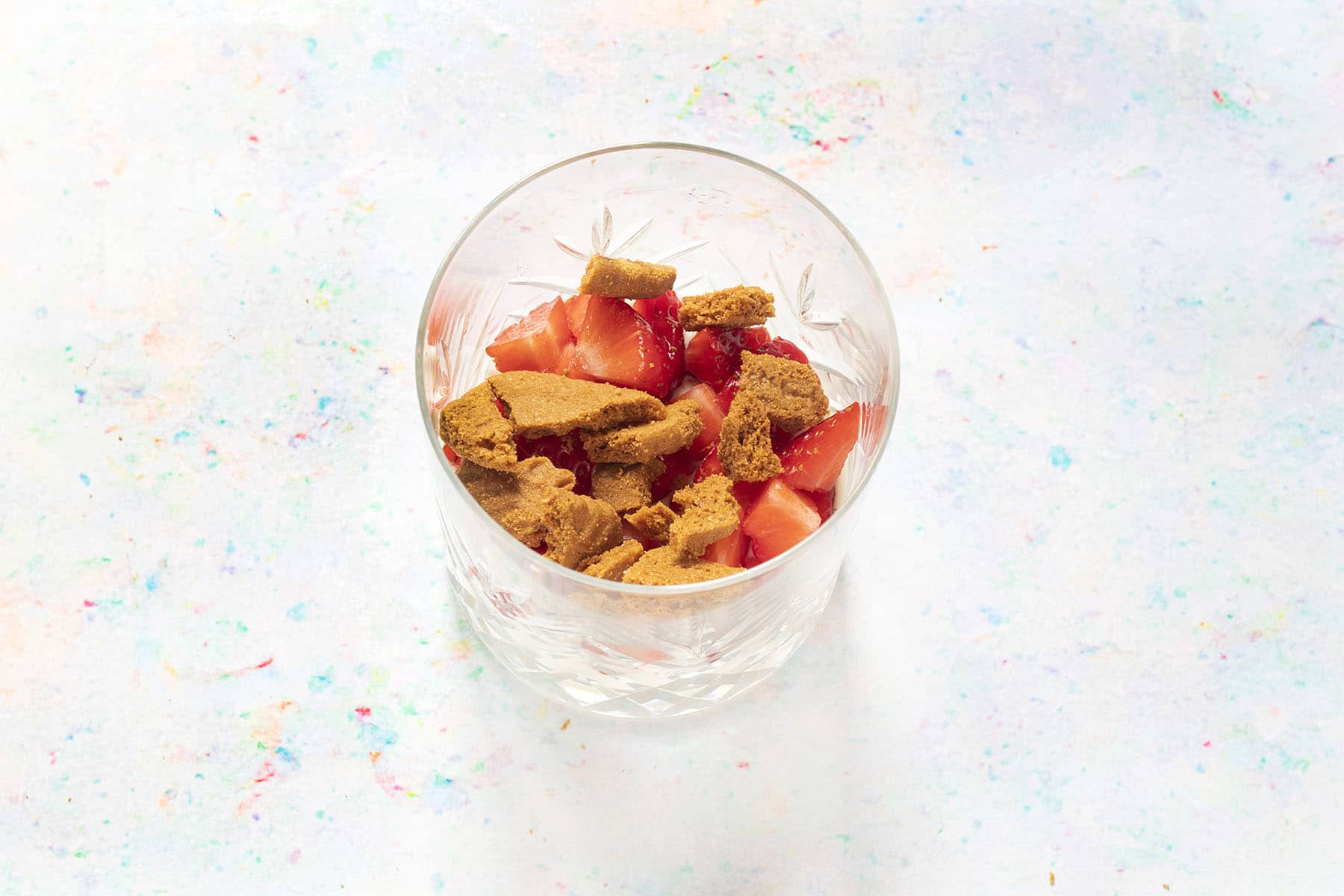 strawberries and biscuits in glass
