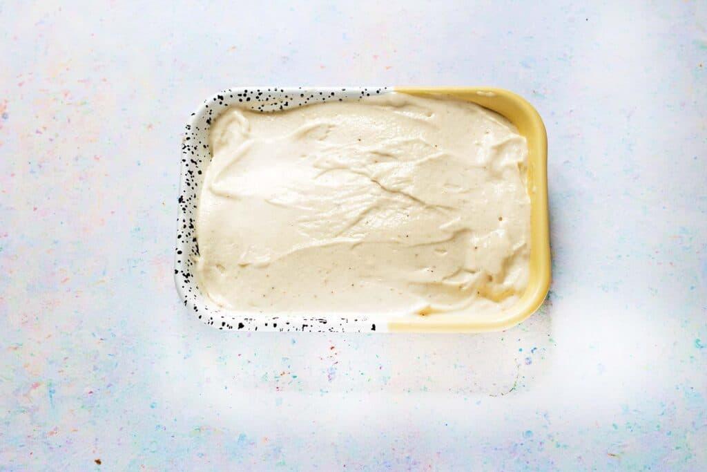 nice cream in yellow, white and black dish