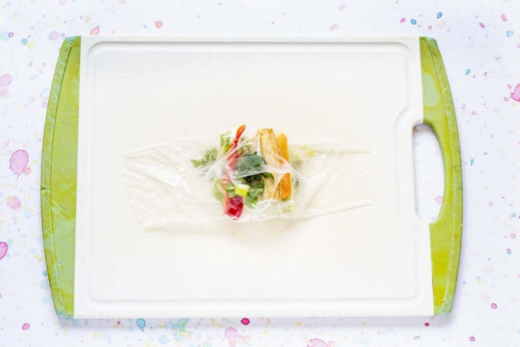 rice paper wrapper partially rolled